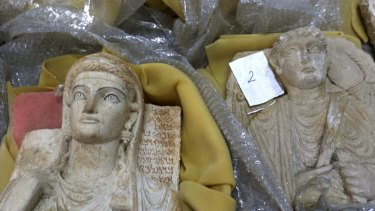 Antiquities in wrapping materials  in Damascus, Syria, this week. Thousands of priceless antiques from across war-ravaged Syria have been gathered in the capital, and are being stored safely.