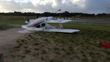 This plane was flipped over at Rottnest by the Monday morning storms.