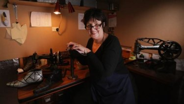 Bespoke shoemaker Betty Ennis in her studio.