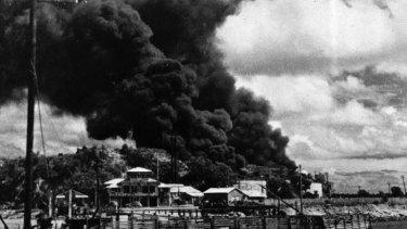 A photo of the Darwin bombings in 1942.