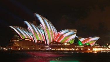 Vivid 2013 - the Sydney Opera House all lit up.