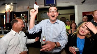 Opposition Leader Daniel Andrews watches the Melbourne Cup  in Ballarat.