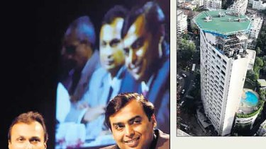 Lifestyles of the rich and feuding ... (clockwise from  left) brothers Anil, left, and Mukesh Ambani; Mukesh's new house at Sea Wind; Sachin Tendulkar in action for the Mumbai Indians, owned by Mukesh; Mukesh gave his wife an Airbus A319.