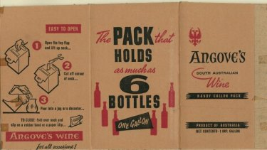 Original Angove's cask wine packaging.