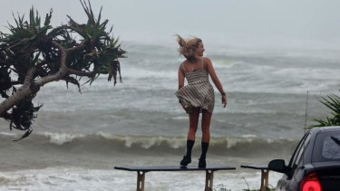 Hair-raising ... wide seas whipped up by the storm at Wategos beach, Byron Bay.
