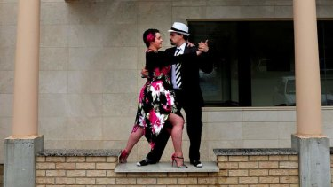 Christian Riley and Serkan Alasya practise their tango moves at the Italian Cultural Centre, Forrest.