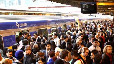 Train pain ... the scene facing commuters at Flinders Street Station.