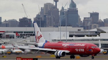 Virgin plane at Sydney Airport.