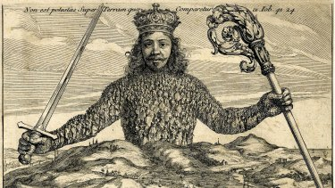 The famous illustration in Thomas Hobbes' The Leviathan, which sought to describe the relationship between power and the people.