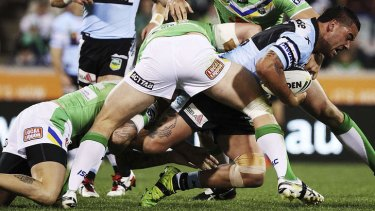 Driving ahead: Andrew Fifita was a handful for the Sharks.