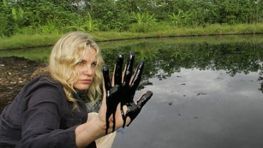 Celebrity support for the cause ... actress Daryl Hannah in Ecuador's oil region in the Amazon two years ago.