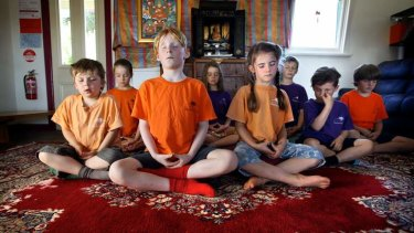 Calming the mind: Students at Daylesford's Dharma School begin their day with 15 minutes of meditation.