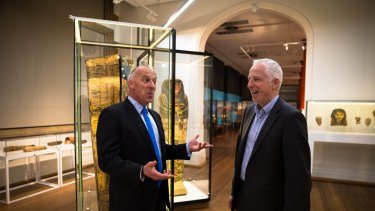 Sydney University has been given $15 million to build the  new Chau Chak Wing museum. Vice-chancellor Dr Michael Spence, left, and David Ellis, Director of Museums at the university, discuss the gift.