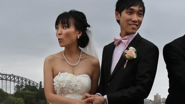 ' We don't think much will change' ... Alicia Zhang and Jonathan Xue, both 28, tie the knot on Sunday.