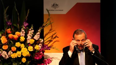 Prime Minister Tony Abbott delivers his address at the Summit to Counter Violent Extremism.