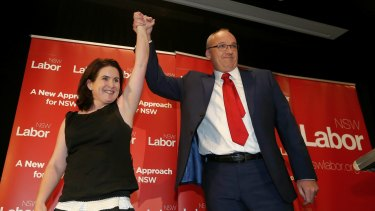 'The heartland has returned.' Luke Foley and wife Edel at Labor HQ on Saturday.