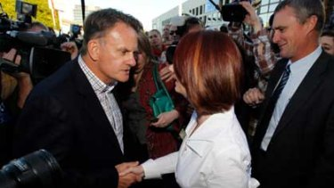 Mark Latham ambushes Julia Gillard in Brisbane.
