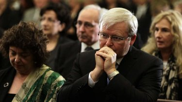 Kevin Rudd and his wife Therese at the memorial service for Margaret Whitlam in Sydney.  Mr Rudd has worked hard to reach out to Christians.