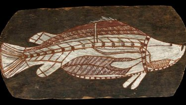 Bark painting of a barramundi, from Western Arnhem Land, circa 1961.