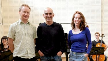 Taking a stanza … (left) James Ledger, Genevieve Lacey and Paul Kelly.