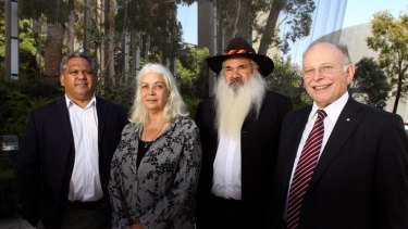 Panel members Noel Pearson, Marcia Langton, Patrick Dodson and Mark Leibler at the Melbourne Museum yesterday.