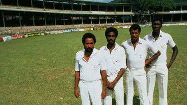 Legends of the game: Andy Roberts, Michael Holding, Colin Croft and Joel Garner of the West Indies in 1981.