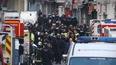 Rue de la Republique in lockdown during the police raids.