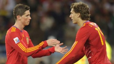 Failed to hit his straps ... Fernando Torres, left, was substituted for Fernando Llorente.