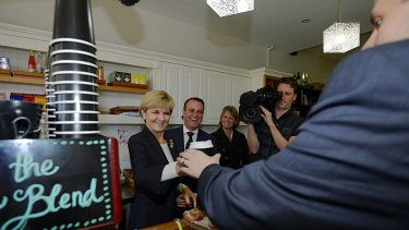 Coffee for votes. Foreign Minister Julie Bishop on the campaign trail with candidate Tim Wilson in Goldstein