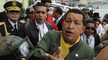 Venezuelan President Hugo Chavez in Otavalo, Ecuador.
