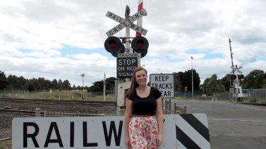 Emma Henderson, the 2007 dux of Northern Bay College (then Corio Bay), standing on the Corio side of the railway tracks that divides the two schools.