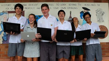 Well connected: (Left to right) Year 9 students Oliver Gorman, Isabelle Ryan, Eoin Boers, Matthew Merriman, Sophie Truong and Kenneth Cai of Caringbah High.
