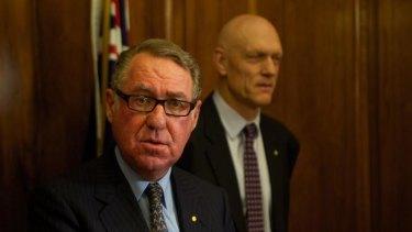 David Gonski with School Education Minister Peter Garrett. Mr Gonski's report into schools funding has been released.
