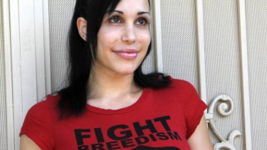 Branching out ... Octomum wears a 'Fight Breedism' t shirt.