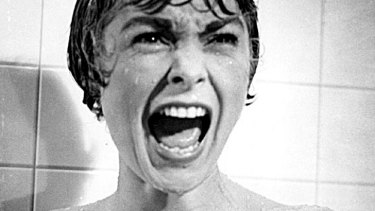 Janet Leigh in the infamous shower scene from Alfred Hitchcock's <i>Psycho</i> (1960).
