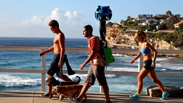 The Google Trekker on the Bronte to Bondi walk.