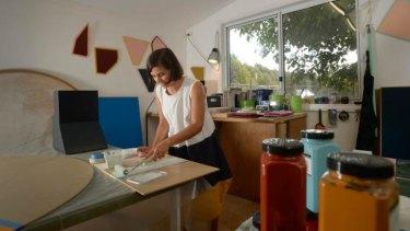 Artist Esther Stewart in her studio in Daylesford.