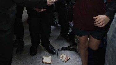 This salami sandwich was thrown at Prime Minister Julia Gillard.