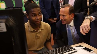 Prime Minister Tony Abbott at the  Pathways in Technology Early College High School in Brooklyn. He is considering bringing the model to Australia.