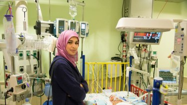 A Palestinian mother with her baby at Israel's Sheba hospital.