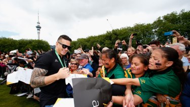 Celebration: Sonny Bill Williams meets fans at a welcome home function for the All Blacks.