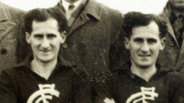 Alex, left and Harold in a Carlton team photo during one of the club's great eras.