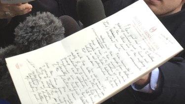 Cardinal George Pell's handwritten statement.