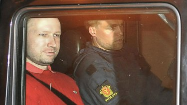 Bomb and terror suspect Anders Behring Breivik leaves the courthouse.