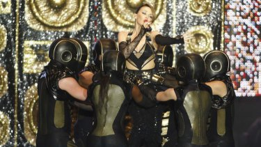 Kylie Minogue during a concert in Morocco.