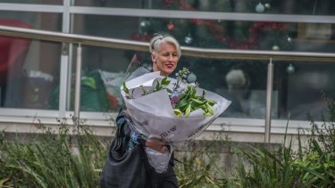 ABC Radio Canberra announcer Genevieve Jacobs leaving ABC headquarters in Wakefield Avenue, Dickson on Wednesday after announcing on-air the ABC no longer required her services.