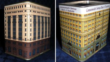 Money boxes ... the tin, right, was modelled on Commonwealth Bank's then head office in  Pitt Street. The tin, left, was a model of the bank's building at 48 Martin Place.
