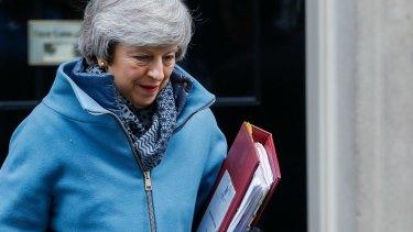 Theresa May departs number 10 Downing Street.