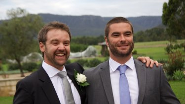 Morgan Huxley (at right) with best friend Chris Maroney.
