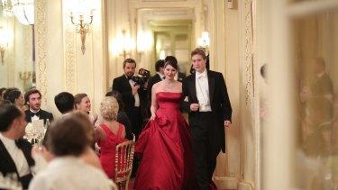 Francesca Packer Barham and her cavalier Oscar Hoare at le Bal de Debutantes de Paris.